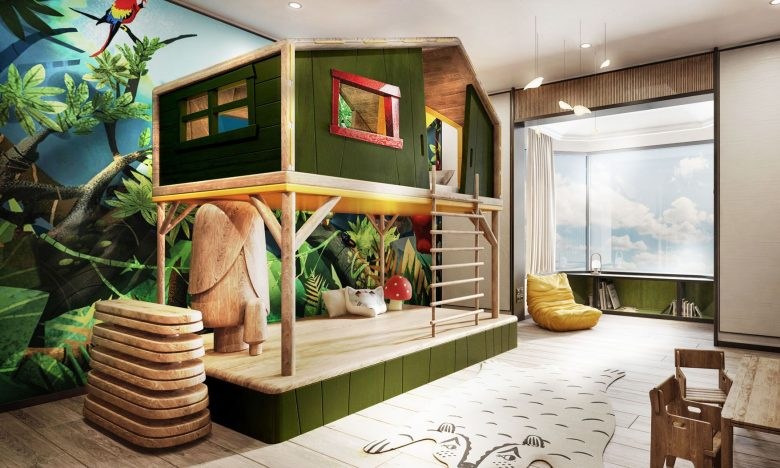 The Shangri-La Hotel, Singapore offers connecting family suites with themes like treehouse